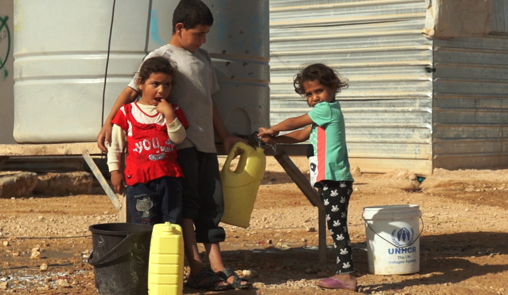 Football dans le camp de refugiés de Za'atari